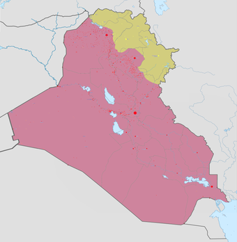 The current military control in Iraq as of 3 May 2018:  Controlled by Iraqi government Controlled by Iraqi Kurds Iraq war map.png