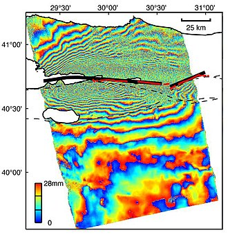Interferometric synthetic-aperture radar - Interferogram produced using ERS-2 data from 13 August and 17 September 1999, spanning the 17 August Izmit (Turkey) earthquake. (NASA/JPL-Caltech)