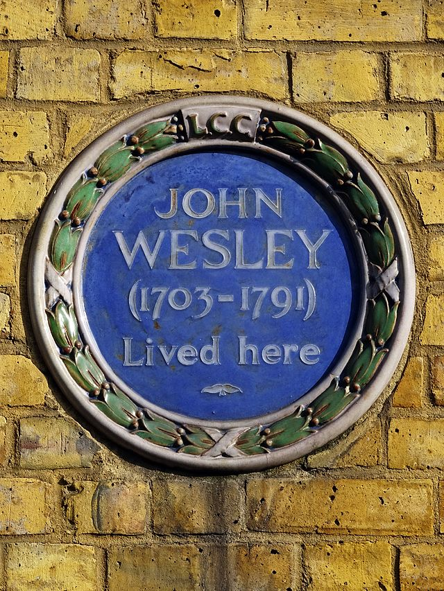 John Wesley blue plaque - John Wesley (1703-1791) lived here
