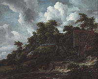 Jacob van Ruisdael - Wooded hillside with a view of Bentheim Castle - Google Art Project.jpg