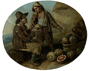 Jacob van Staverden - A watermelon vendor and a young boy