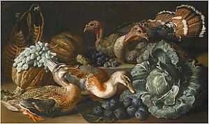 Jacob van der Kerckhoven - A still life of ducks, turkeys, melons, figs, grapes and a cabbage on a stone ledge