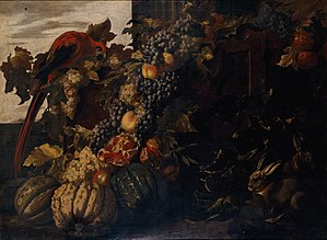 Jacob van der Kerckhoven - Still life with fruit, parrot and rabbits (Allegory of Autumn)