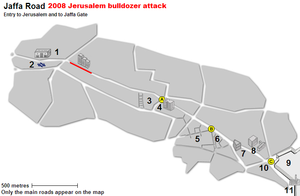 2008 Jerusalem bulldozer attack - Image: Jaffa Road Bulldozer Attack