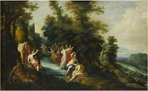 Jan Tilens - Diana and Actaeon, figures by Hendrick van Balen