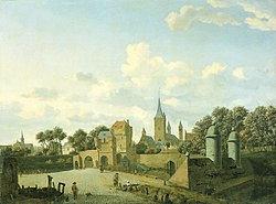 Jan van der Heyden: The church of St. Severin in Cologne in a fantasy setting