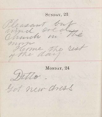Jane McDowell Foster Wiley - A page from Jane Foster's diary, 1871; She records that she got a new dress on Monday