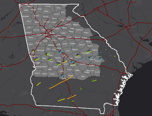 Tornado outbreak of January 21–23, 2017 - Tracks of the record-breaking 42 tornadoes that touched down across Georgia on January 21–22