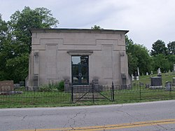 "Mausoleum in Jeromesville Cemetery (note that inscription reads ""Jeromeville"")"
