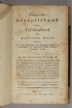 Johann Trommsdorff - Chemische Receptirkunst, 1799, on pharmaceutical chemistry