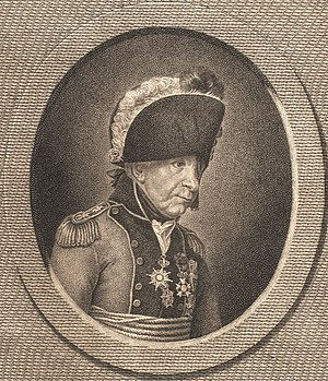 Forage War - Hessian Captain Johann Ewald (depicted later in life wearing a Danish general's uniform) was often near the front of the British lines.