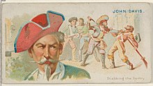 John Davis, Stabbing the Sentry, from the Pirates of the Spanish Main series (N19) for Allen & Ginter Cigarettes MET DP835013.jpg