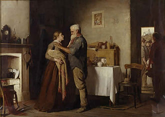 Mining accident - Breaking the News, painted by Australian artist John Longstaff in 1887, depicts a miner informing a widow of her husband's death in a mining accident.
