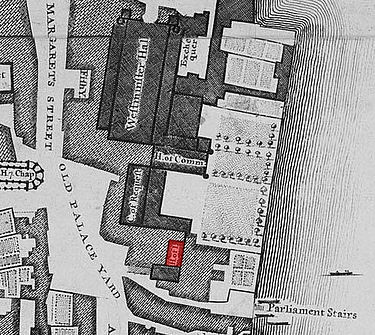 The House of Lords (highlighted in red) on John Rocque's 1746 map of London, within the Old Palace of Westminster.The River Thames is to the right. John rocque house of lords gunpowder plot cropped.jpg