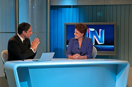 Former President Dilma Rousseff at Jornal Nacional news program. Rede Globo is the world's second-largest commercial television network. Jornal Nacional 3.jpg