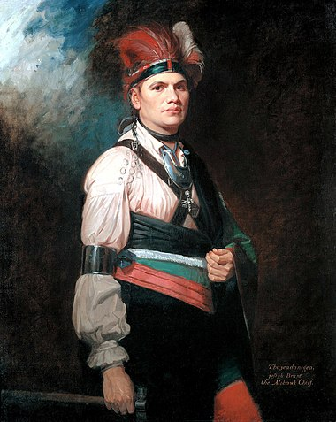 British Loyalist Mohawk chief Joseph Brant in a 1776 painting by artist George Romney