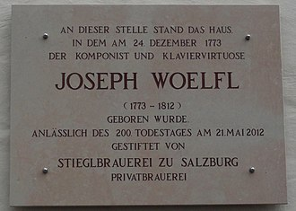 "Joseph Wölfl - ""Gedenktafel"" at Woelfl's birthplace, donated 2012 by Stieglbrauerei"