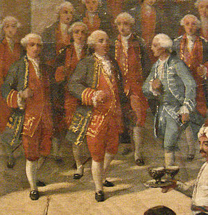 Joseph de Bauffremont - Joseph de Bauffremont (center) with Captain de Broves to his right, being welcome into Smyrna by the French Consul, 28 September 1766 detail.