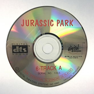 DTS (sound system) - A photo of a theatrical DTS CD-ROM disc used for the original 1993 release of Jurassic Park.