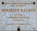 Kálmán Mikszáth plaque Budapest07.jpg
