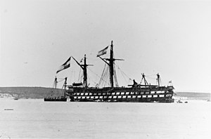 Battle of Lissa (1866) - SMS Kaiser at Lissa in the aftermath of the battle, undergoing repairs