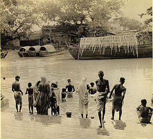 Kalighat - Pilgrims bathing in the Hoogly at Kalighat, c. 1947