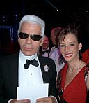 Karl Lagerfeld with (Bolivian Designer) Monica Moss, at the Red Cross Ball in Monaco, August 2005.JPG