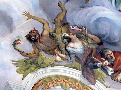 Karlskirche Frescos - Glaube 7 Teufel und Eitelkeit
