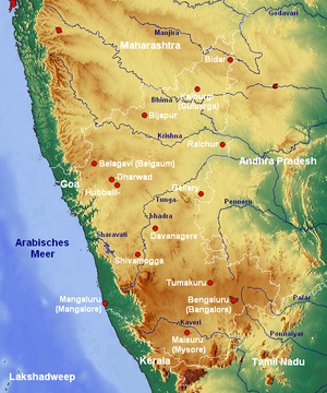 Geography of Karnataka - Topographic map of Karnataka. Western Ghats are parallel to the coast.