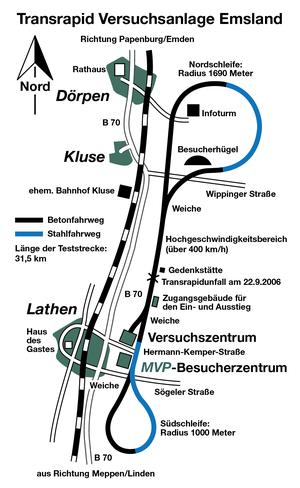 Emsland test facility - Image: Karte Transrapid Teststrecke Emsland