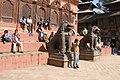 Kathmandu Durbar Square, Shiva Parvati Temple, Lions, Nepal.jpg