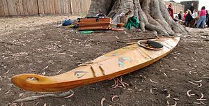 Aleutian kayak - Contemporary baidarka at Fort Ross State Historic Park in 2015