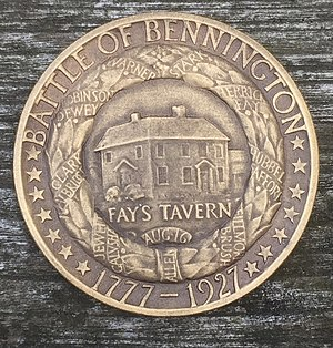 Vermont Sesquicentennial half dollar - Keck repurposed his rejected design for the half dollar as one side of the official medal.