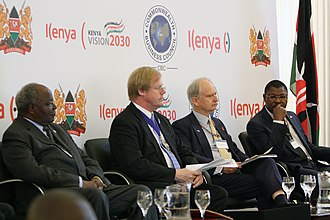 Mwai Kibaki - President Mwai Kibaki with the British Foreign Office Minister Henry Bellingham, Lord Mayor of the City of London, Alderman David Wootton and Minister of Trade Moses Wetangula at the Kenya Investment Conference in London, 31 July 2012