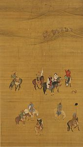 Kubilai Khan on the Hunt, paint and ink on silk, by Liu Guandao, 1280 format = landscape