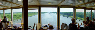 Kiel Canal - View west-southwest from the aft lounge of the cruise ship Norwegian Dream
