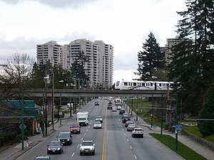 Metrotown, Burnaby - SkyTrain tracks crossing over Kingsway in the western part of Metrotown, following the former Central Park Interurban's right of way
