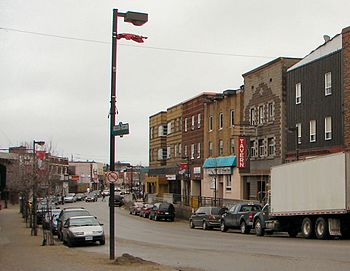 Main street in Kirkland Lake, Ontario, Canada
