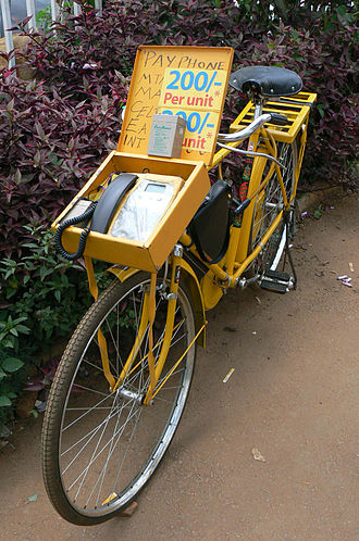 Communications in Uganda - A payphone is mounted on a bicycle in Kiwanja, Uganda.