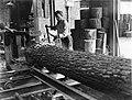 Klompenmakerij Gebr Van der Velde in Best, het zagen van een boomstam, Bestanddeelnr 252-0759.jpg
