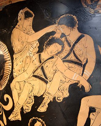 Clytemnestra - Clytemnestra trying to awake the Erinyes while her son is being purified by Apollo, Apulian red-figure krater, 480–470 BC, Louvre (Cp 710)
