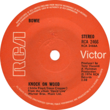 Knock on Wood (live) by David Bowie 1974 UK vinyl single A-side.png
