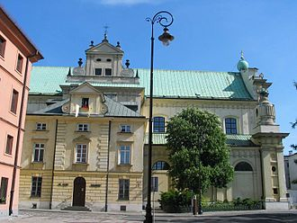Carmelite Church, Warsaw - View from northwest, showing remnants of the original Polish-baroque architecture