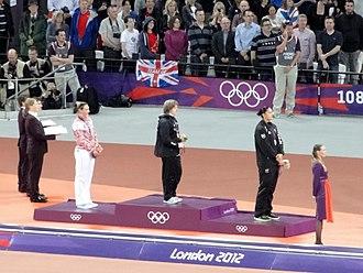 New Zealand at the 2012 Summer Olympics - Shot put medal ceremony (l-r) Yevgeniya Kolodko, Nadzeya Ostapchuk, Valerie Adams