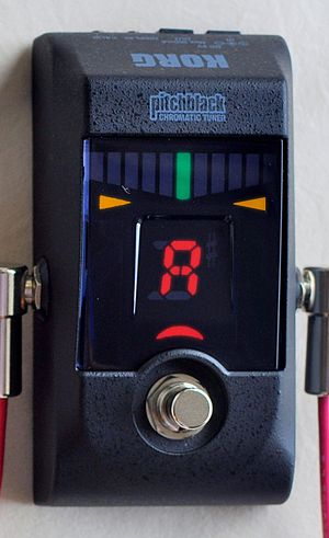 "Electronic tuner - Some rock and pop guitarists and bassists use ""stompbox"" format electronic tuners that route the electric signal for the instrument through the unit via a 1/4"" patch cable. These pedal-style tuners usually have an output so that the signal can be plugged into a guitar amp."
