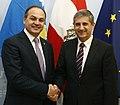 Kosovarischer Außenminister Hoxhaj bei Michael Spindelegger (8207457967).jpg