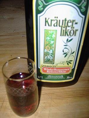 Kräuterlikör - A bottle of German Kräuterlikör.