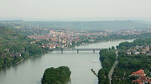 Wachau - The western city area of Krems on the northern banks of the Danube River