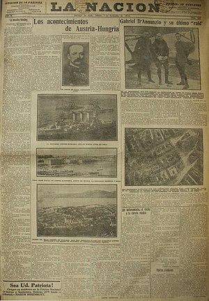 La Nación (Chile) - 2 November 1918 issue of La Nación.