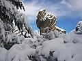 La nevada invernal realza la roca más característica del roquedo de Castroviejo, en Duruelo de la Sierra, Soria.jpg